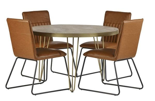 Pair of PU Leather Dining Chairs | Pair of PU leather dining chairs with cantilever steel frame.